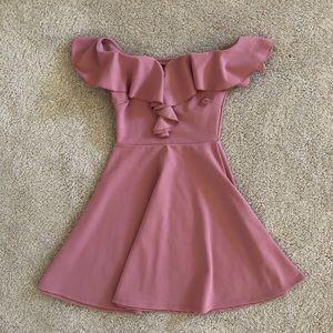 Pink Ruffle Off-The-Shoulder Mini Dress